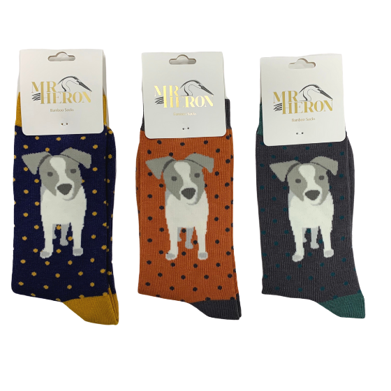 Mr Heron Jack Russell Pup Socks Navy