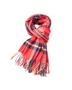 Megan Tartan Scarf Red/Navy