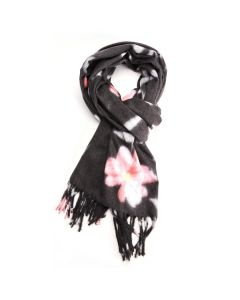 Thick Floral Scarf Charcoal