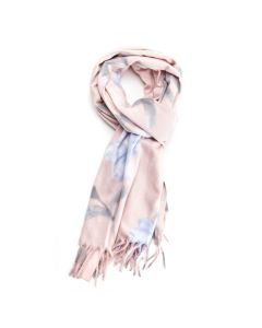 Thick Floral Scarf Pink