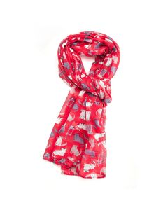 Cats Scarf Red