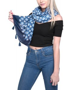 Flower with Tassels Scarf Blue