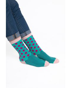 Polka Dots and Chevrons Socks Blue