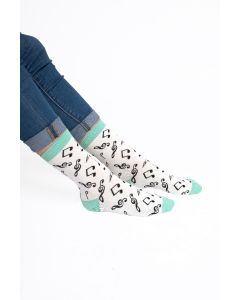 Music Note Socks White