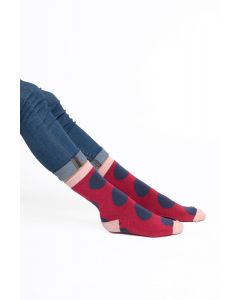 Oversized Polka Dots Socks Red