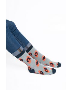 Leopard Print Socks Powder Blue