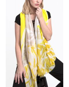 Two Tone Leaf Scarf Yellow