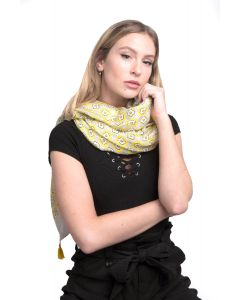 Flower with Tassels Scarf Yellow