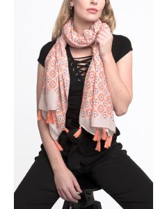 Flower with Tassels Scarf Orange