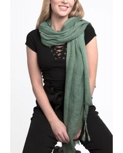 Pleated Tassels Scarf Green