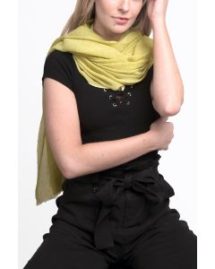 Pleated Tassels Scarf Yellow