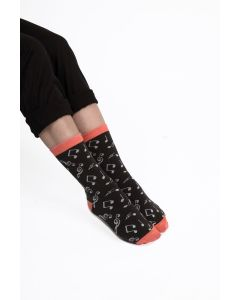 Music Note Socks Black