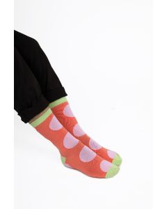 Oversized Polka Dots Socks Coral