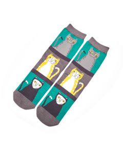 Cats & Stripes Socks Green