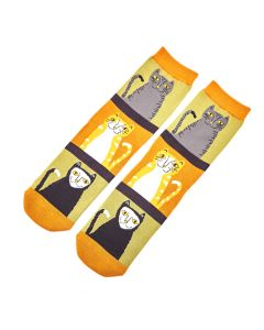 Cats & Stripes Socks Olive