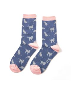 Cats Socks Navy