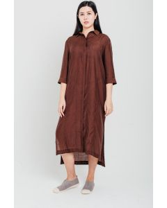 Brown Tencel Linen Dress