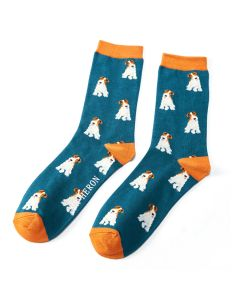 Mr Heron Fox Terrier Socks Teal
