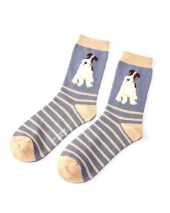 Fox Terrier Stripes Socks Blue