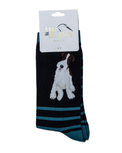 Mr Heron Fox Terrier Stripes Socks Black