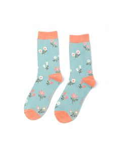 Dainty Floral Socks Duck Egg