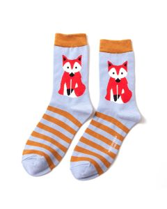Fox & Stripes Socks Powder Blue
