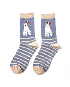Fox Terrier Stripe Socks Blue