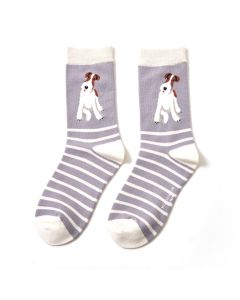 Fox Terrier Stripes Socks Light Grey