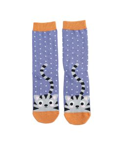 Kitty & Spots Socks Blue