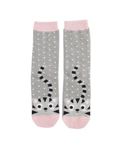 Kitty & Spots Socks Grey