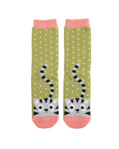 Kitty & Spots Socks Moss