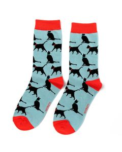 Lucky Cats Socks Powder Blue