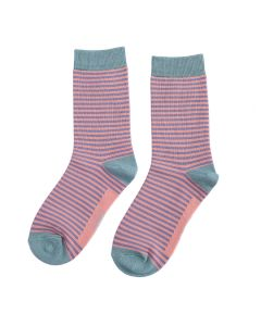 Mini Stripes Socks Dusky Purple & Pink