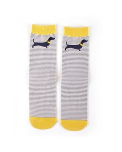 Sausage Dog Stripe Socks Silver