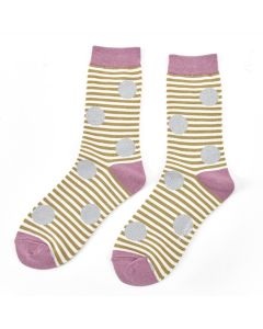 Sparkle Spots & Stripes Socks Olive