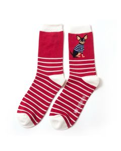 Mr Heron Chihuahua Stripes Socks Red