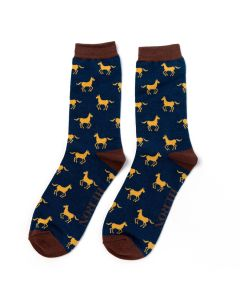 Mr Heron Horses Socks Navy