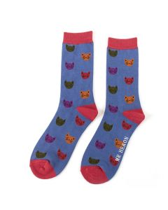 Mr Heron Kitty Faces Socks Blue