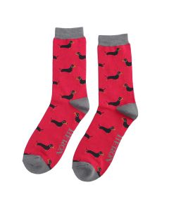 Mr Heron Little Sausage Dogs Socks Red