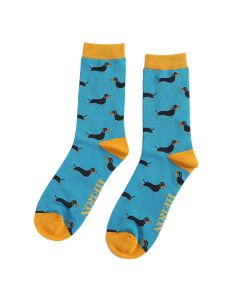 Mr Heron Little Sausage Dogs Socks Teal