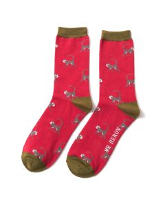 Mr Heron Monkeys Socks Red