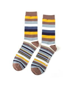 Mr Heron Thick & Thin Stripes Socks Khaki