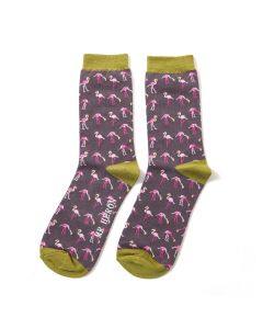 Mr Heron Wild Flamingos Socks Black
