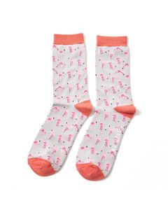 Mr Heron Wild Flamingos Socks Silver