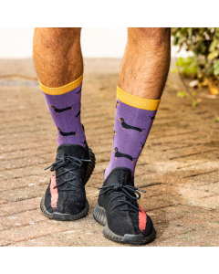 Mr Heron Little Sausage Dogs Socks Purple