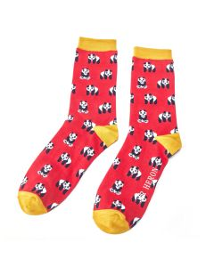 Mr Heron Pandas Socks Red