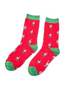 Pixel Santa Socks Red