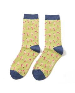 Wild Flamingos Socks Olive