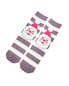 Santa Face Socks Grey