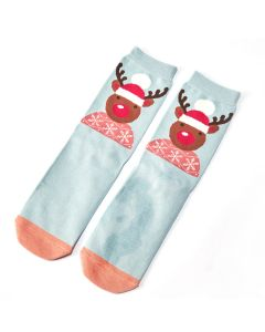 Santa Reindeer Socks Powder Blue